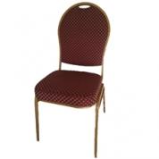 Guld stol - Mørkerødt sæde