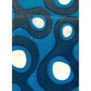 Gulvtæppe - Blåt med cirkler