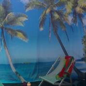 Banner - Hawaii strand med palmer 4x3m
