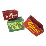 Gamle øl kasser i træ - sæt 3 stk