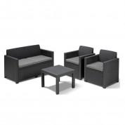 Lounge sæt i grå 2 person sofa, 2 stole samt bord