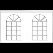Sidevæg 4m Hvid - Med 2 buede vinduer 4x4.M.F