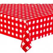 Voksdug - Rød & Hvidternet 140 x 220 cm.