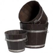 Træ spande 3 stk - Whiskytønder stil