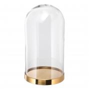 Glaskuppel med guld bund - stor 26 cm H